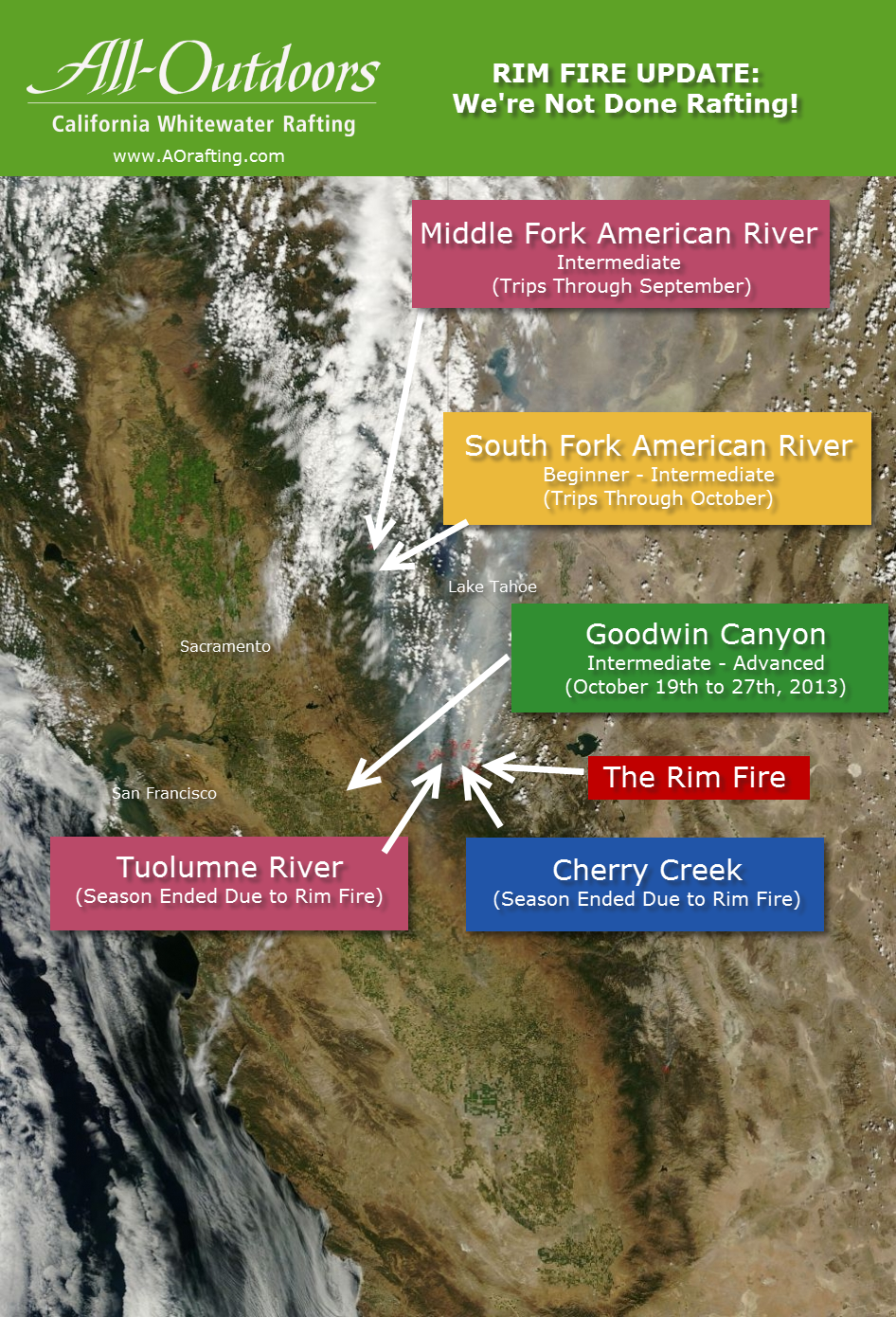 Updated Rim Fire S Impact On California Rafting Map