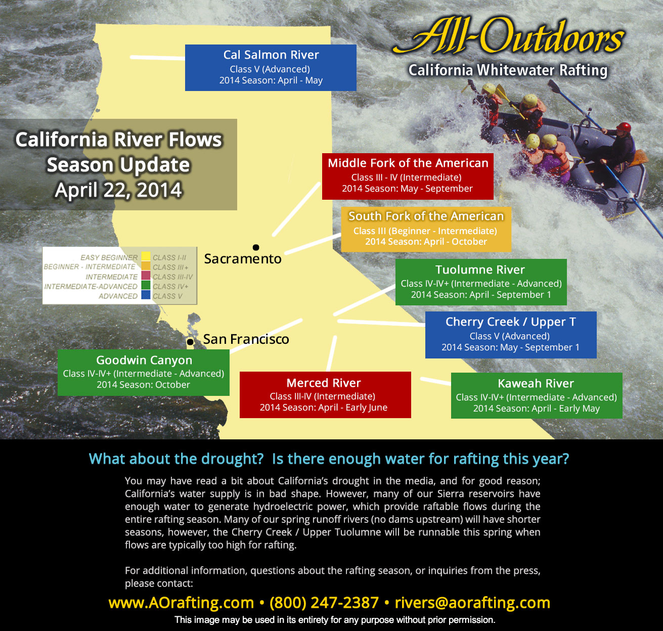Map: 2014 California River Rafting Season Update