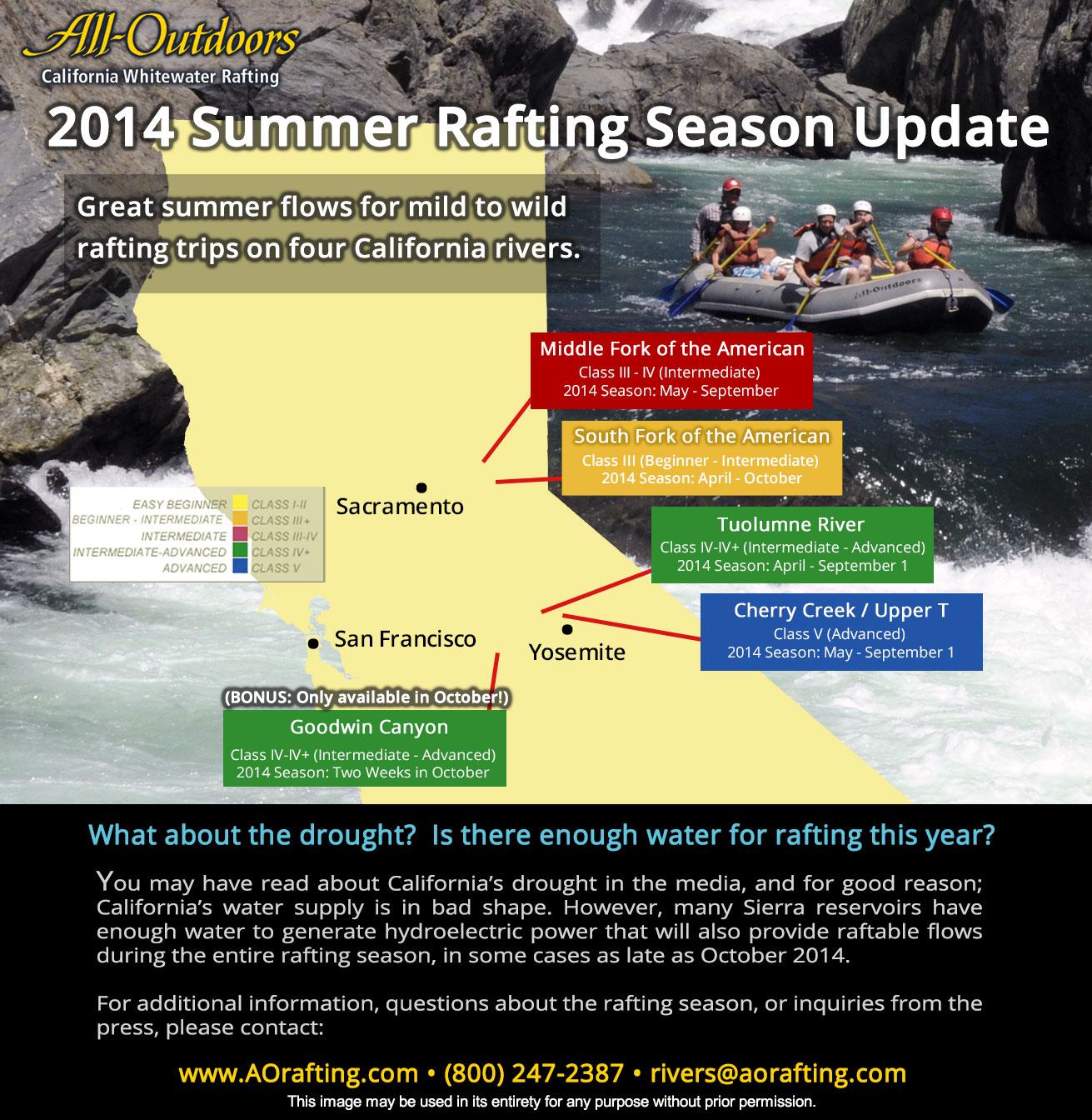 White Water Rafting California Map.2014 California Summer Rafting Season Update Here S Where We Re