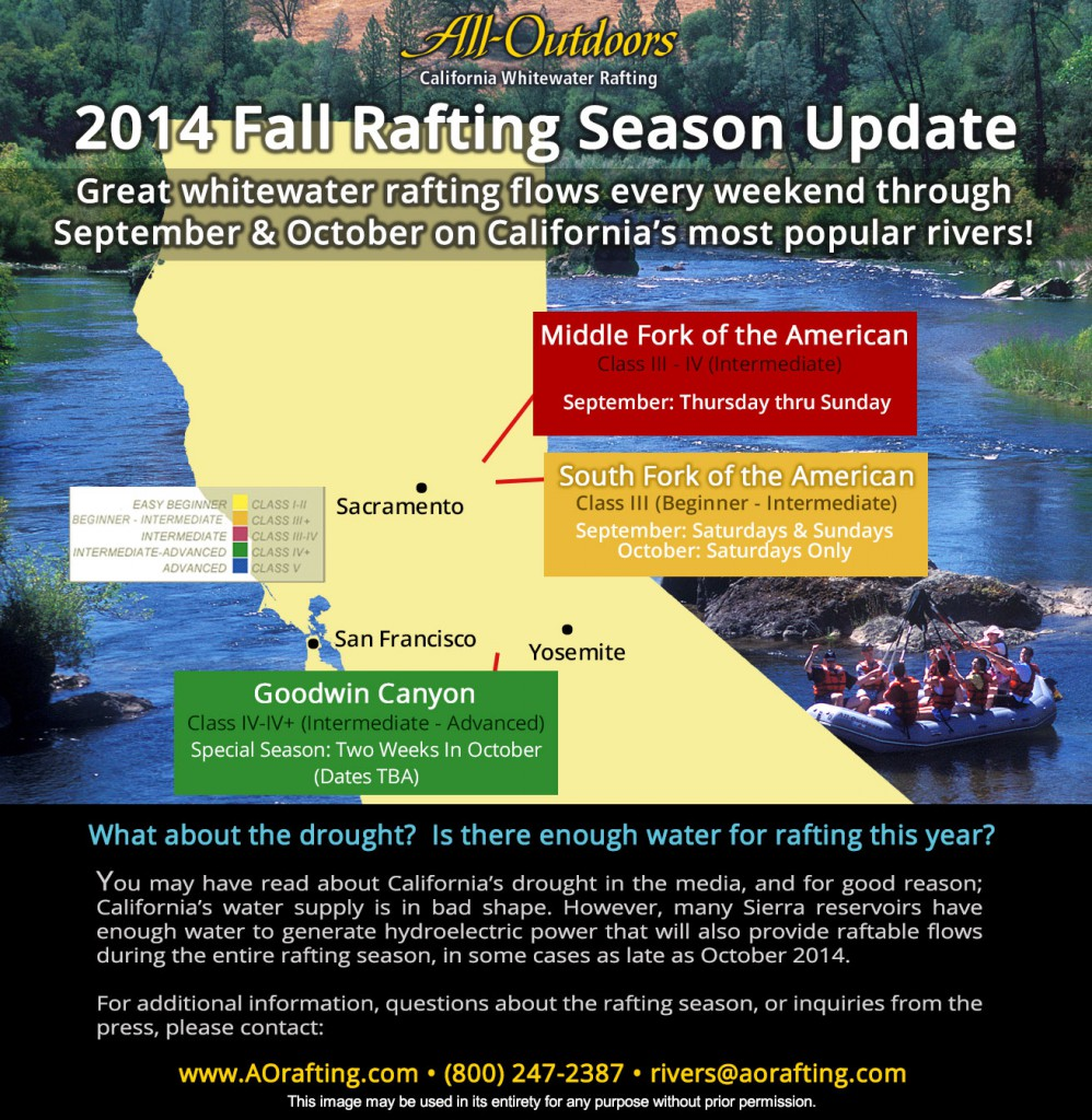 Map illustrating which rivers in California are running this Fall for whitewater rafting trips.