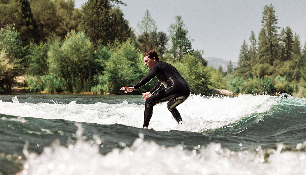 Surfing Barking Dog Rapid on The South Fork American River